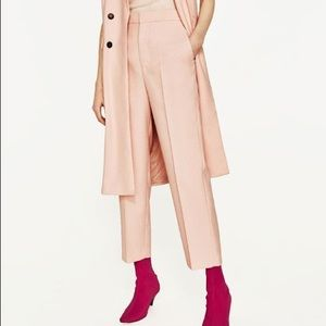 NWT Zara Blush Pink Straight Cut Culottes Trousers